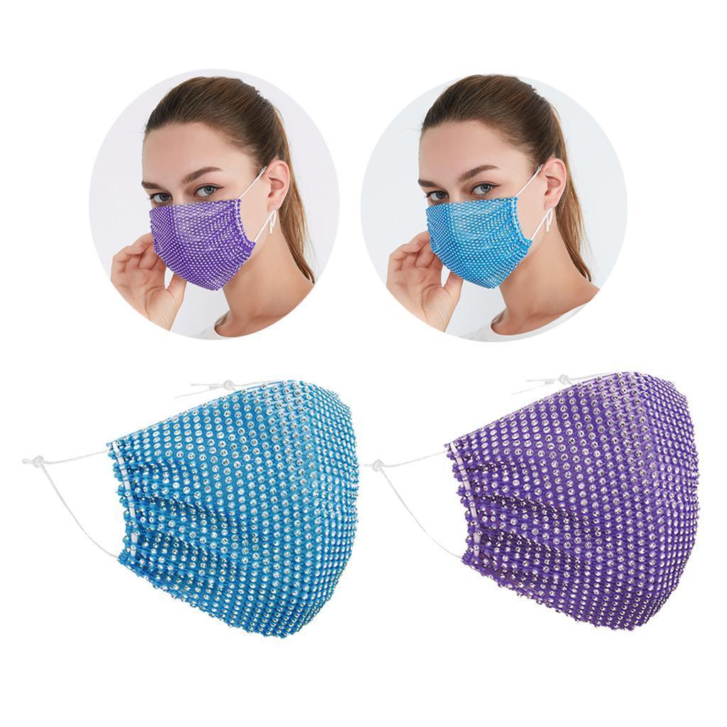 miniatura 4 - 2 pezzi maschera a rete con strass scintillanti maschere per il viso in maschera