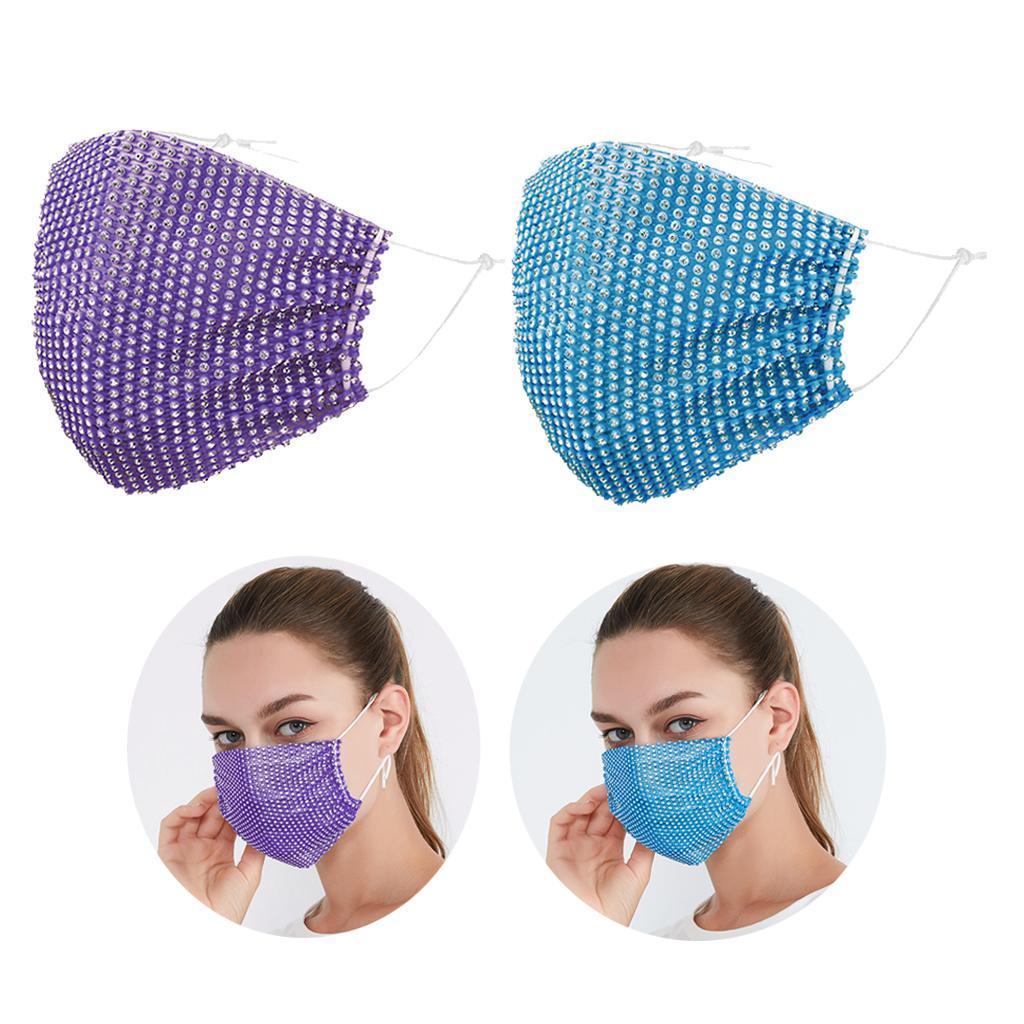 miniatura 2 - 2 pezzi maschera a rete con strass scintillanti maschere per il viso in maschera