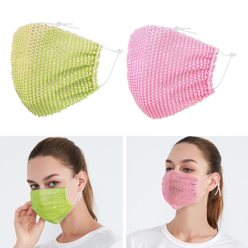 miniatura 31 - 2 pezzi maschera a rete con strass scintillanti maschere per il viso in maschera