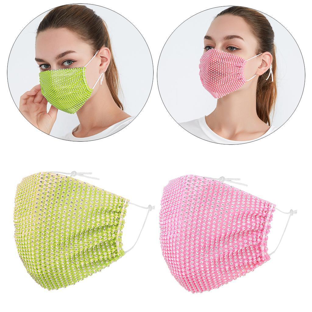 miniatura 29 - 2 pezzi maschera a rete con strass scintillanti maschere per il viso in maschera