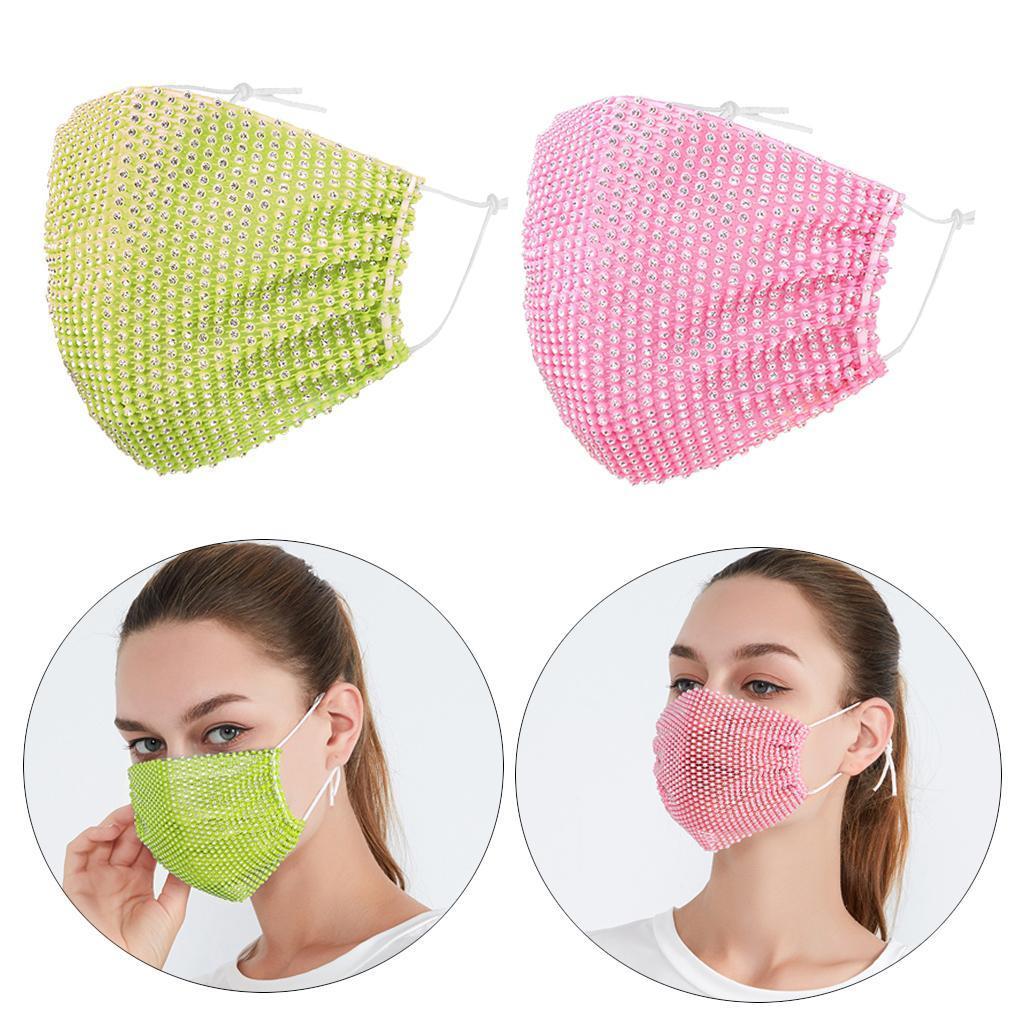 miniatura 30 - 2 pezzi maschera a rete con strass scintillanti maschere per il viso in maschera