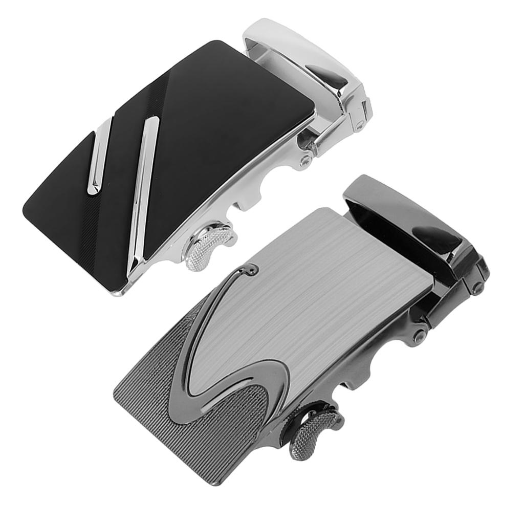 2 Pieces Men's Automatic Buckle Business Casual Buckle for Leather Belts