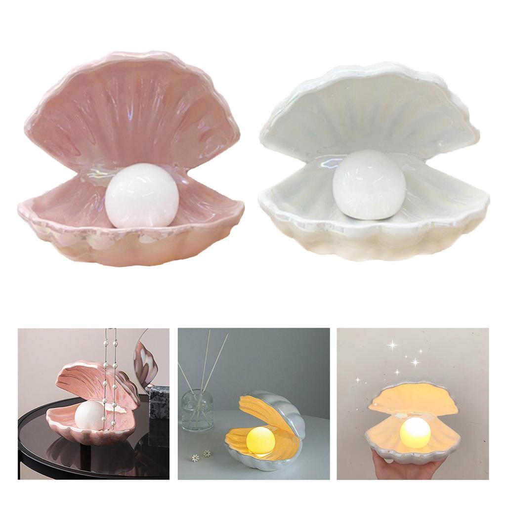 2x LED Akzentlampe Nachtlicht Pearl in Shell Desktop Tischlampe für Kinder