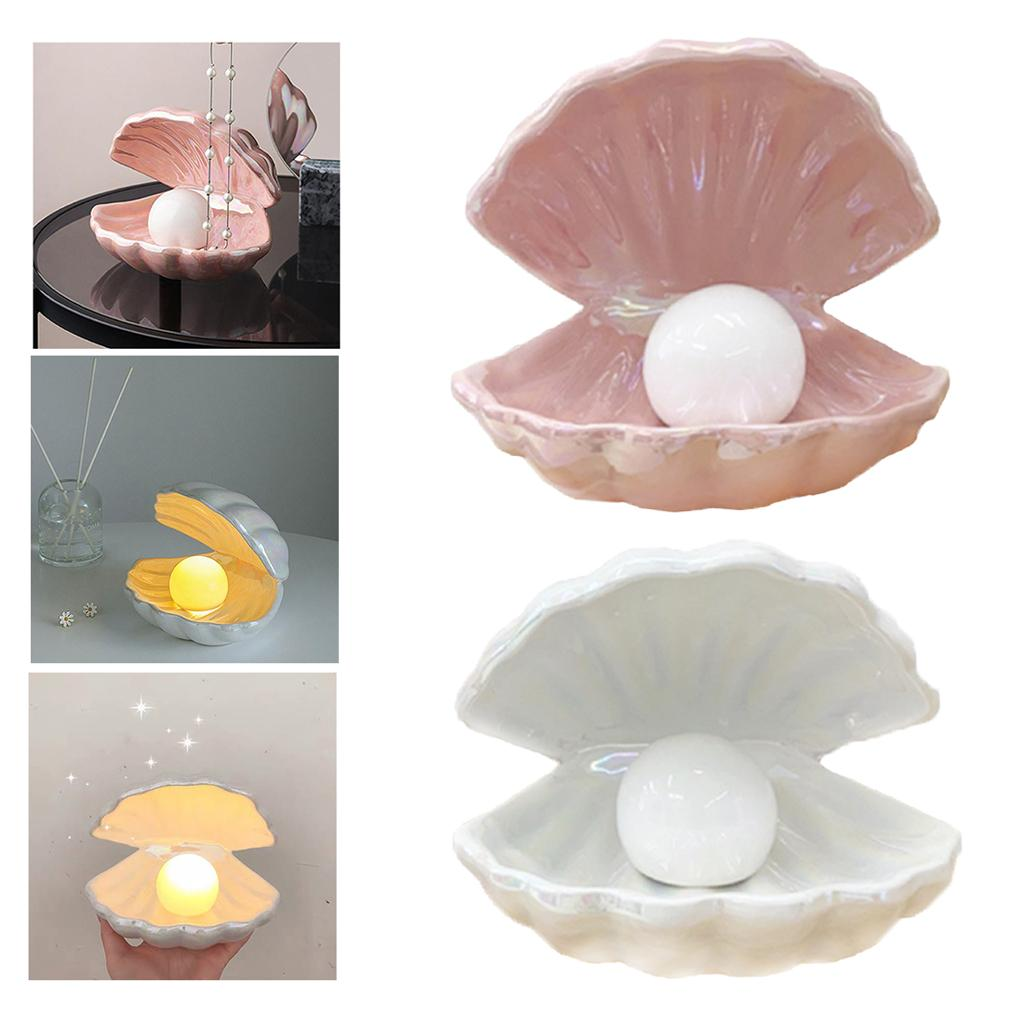 2x LED Lampe Nachtlicht Perle in Muschel Tisch Nachttischlampe Dekoratives