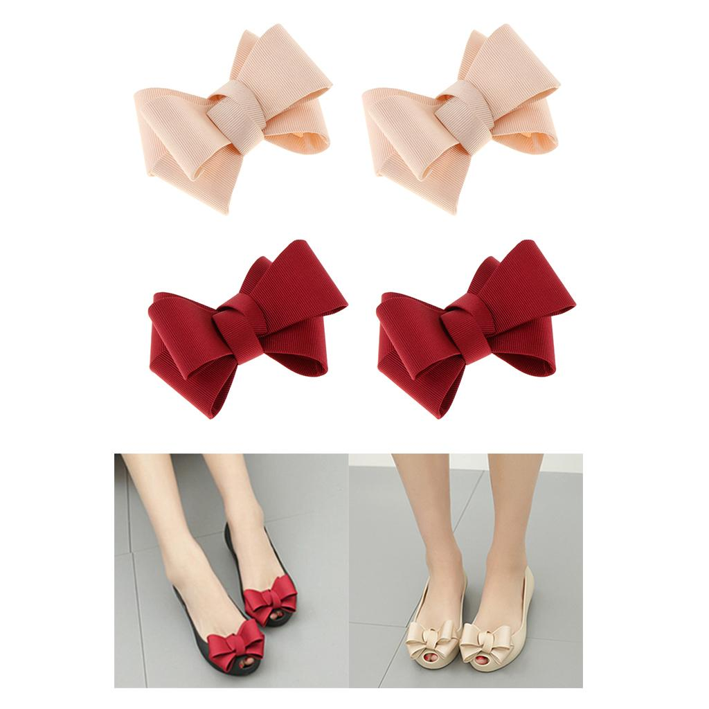 4x Bowknot Loop Shoe Clips Shoe Decoration, Red + Beige