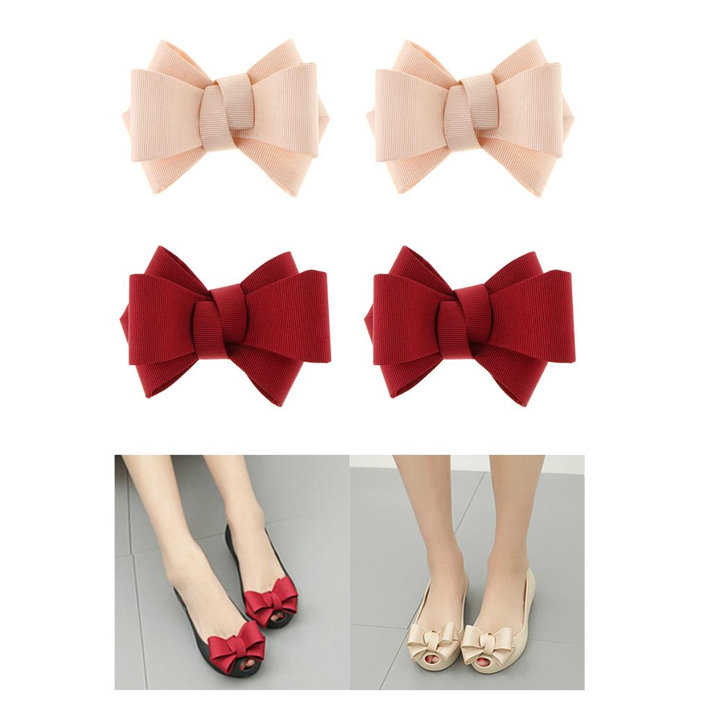 4 Pack Simple Bow Shoe Clips Ladies Removable Shoe Charms Buckle 2 Colors