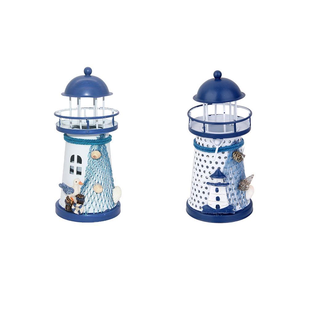 2 Stück Mediterranen Leuchtturm Eisen Kerze LED Licht Home Tischdekoration