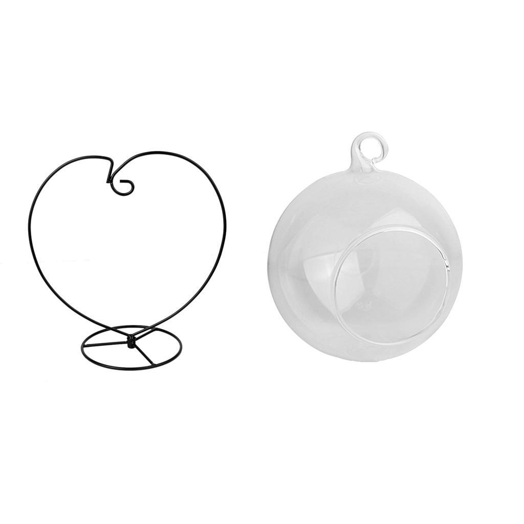 Various-Hanging-Glass-Ball-Tea-Light-Candle-Holder-Flowerpot-with-Iron-Stand thumbnail 16