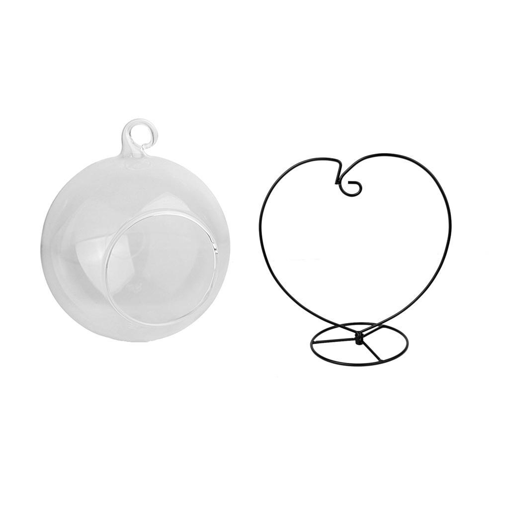Various-Hanging-Glass-Ball-Tea-Light-Candle-Holder-Flowerpot-with-Iron-Stand thumbnail 20