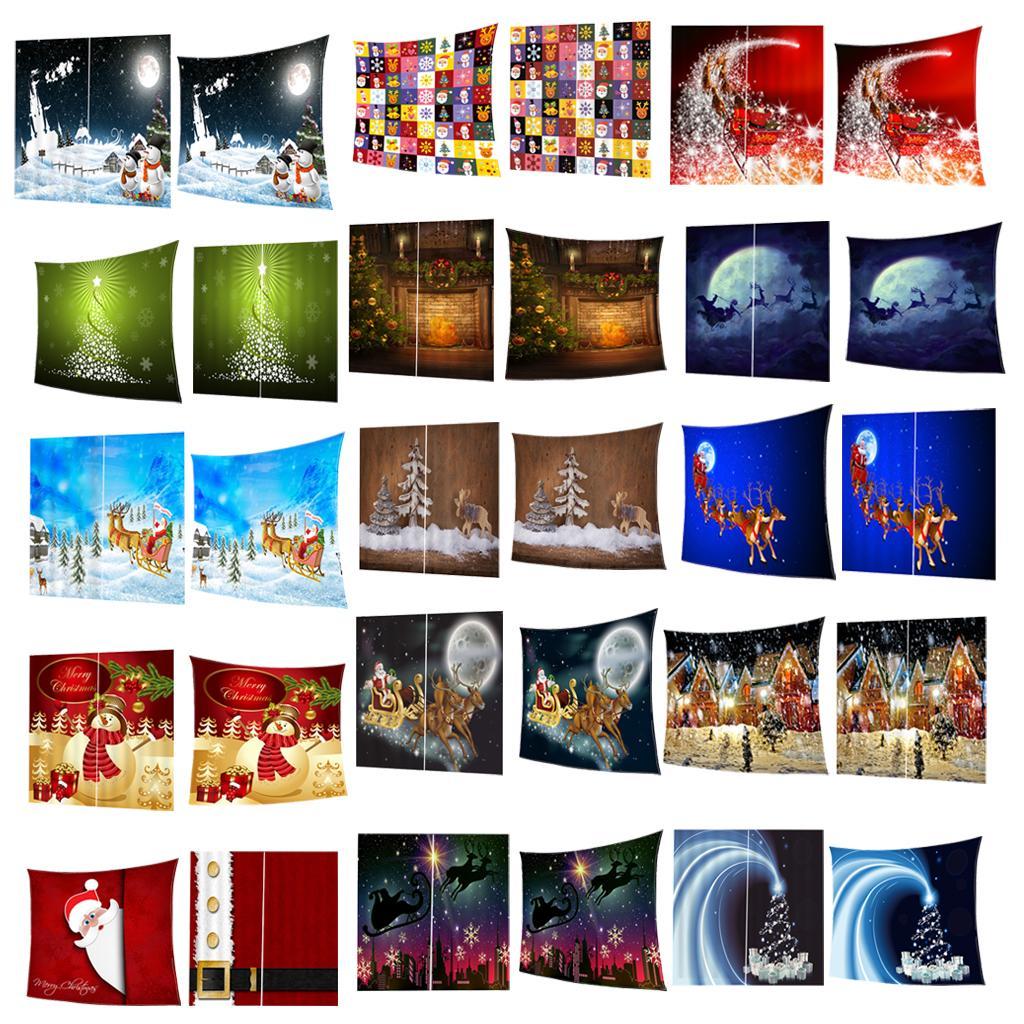 Weihnachtsthemen Decke aus Polyester inklusiv Set 2 Stück Gardinen mit
