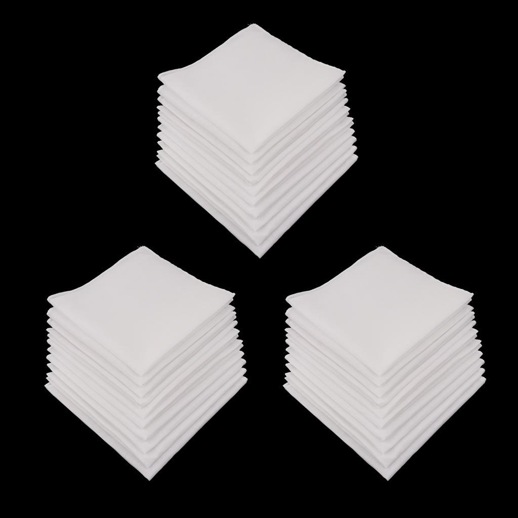 30Pcs Cotton Handkerchiefs Classic Soft Square Hanky Party Hankie Towel Lot