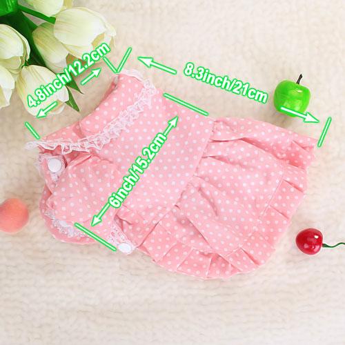 Pet Dog Dress Skirt Apparel Clothes Bowtie Dots  Pink S