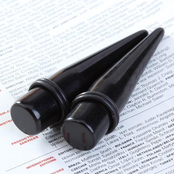 2x-Acrylic-Ear-Taper-Stretcher-expander-Plug-Black-4mm-18mm-Stretching-Piercing thumbnail 10