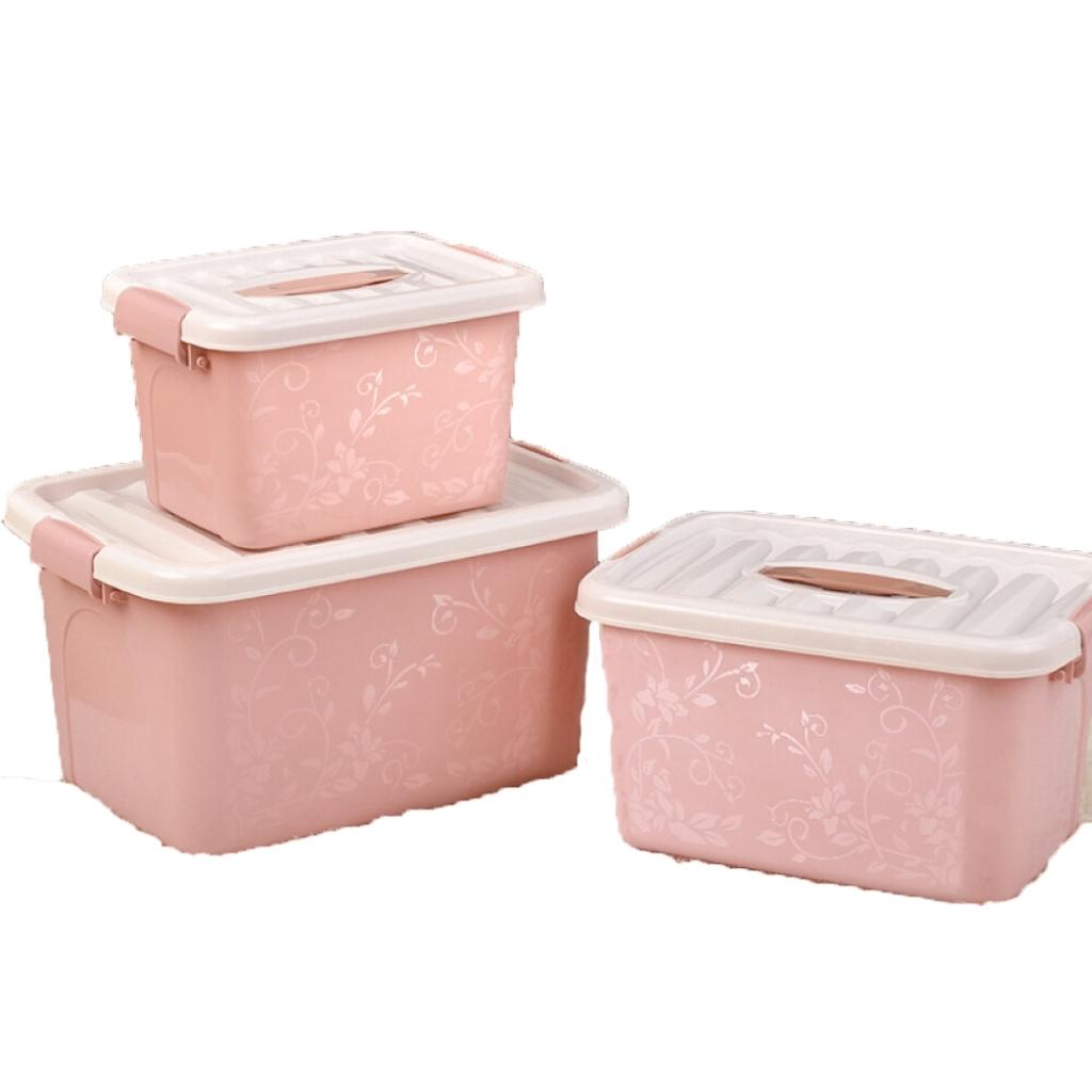 3-pcs-Multifonction-En-Plastique-Boite-De-Rangement-Bin-avec-Couvercles miniature 3