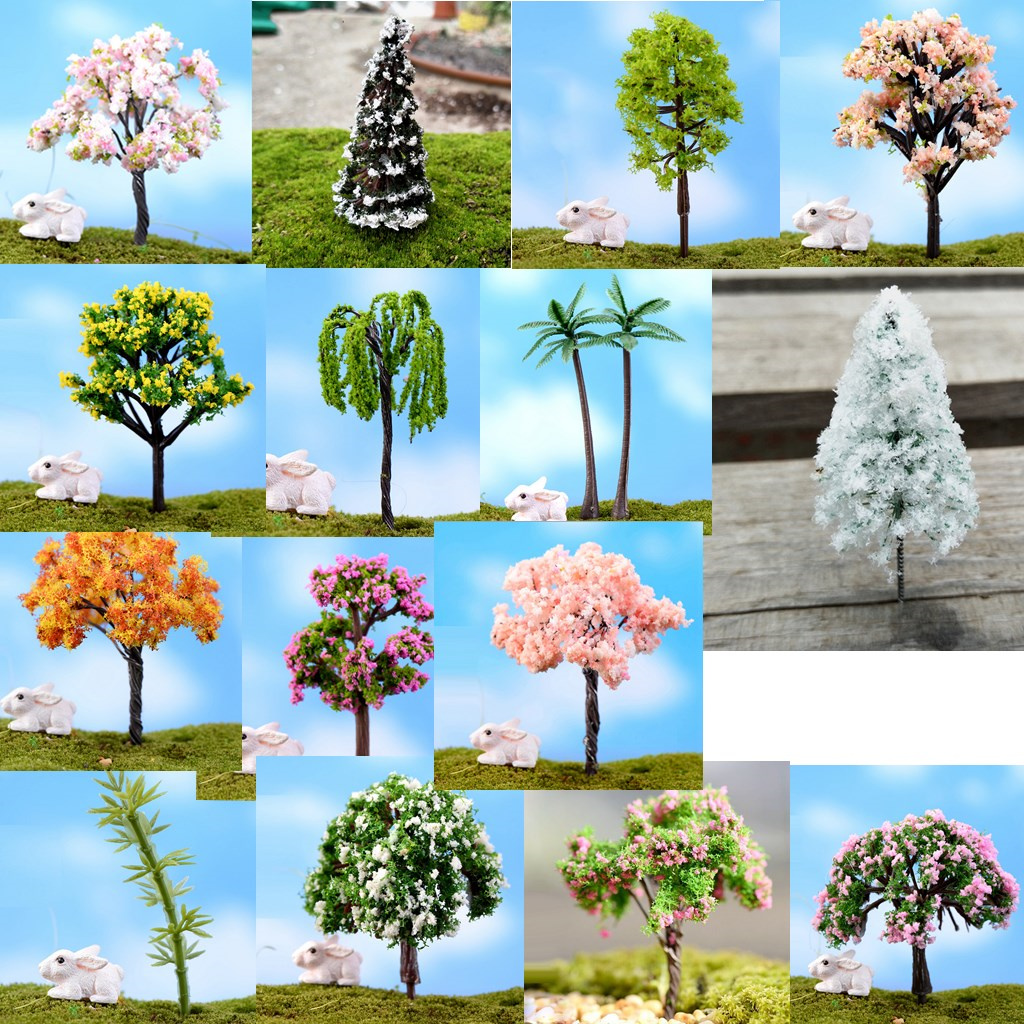5pcs Miniature Resin Tree Figurine Landscape Pot Bonsai DIY Decor Crafts #5