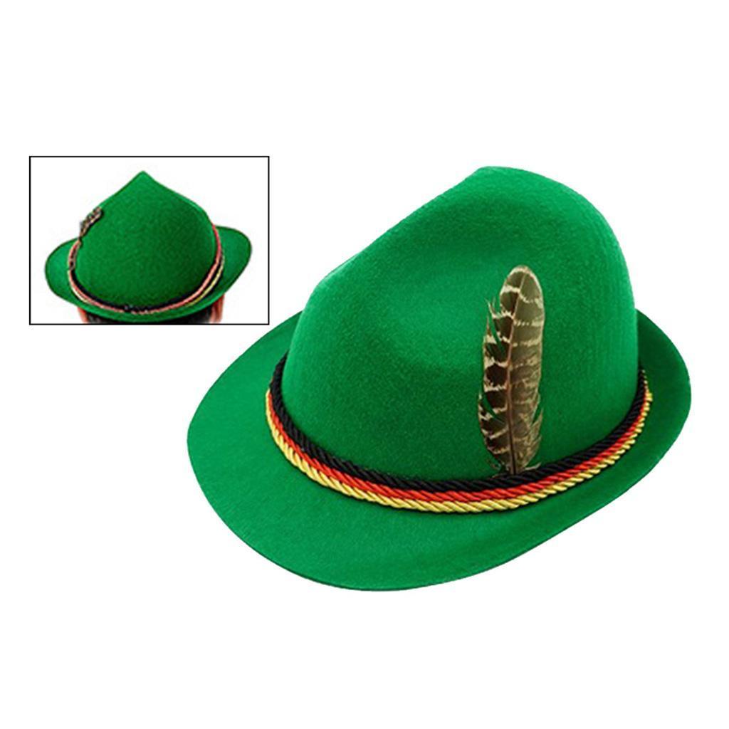 Indexbild 7 - Unisex Wollfilz Fedora Hut mit Abnehmbare Feder Oktoberfest Kurze Krempe Hut