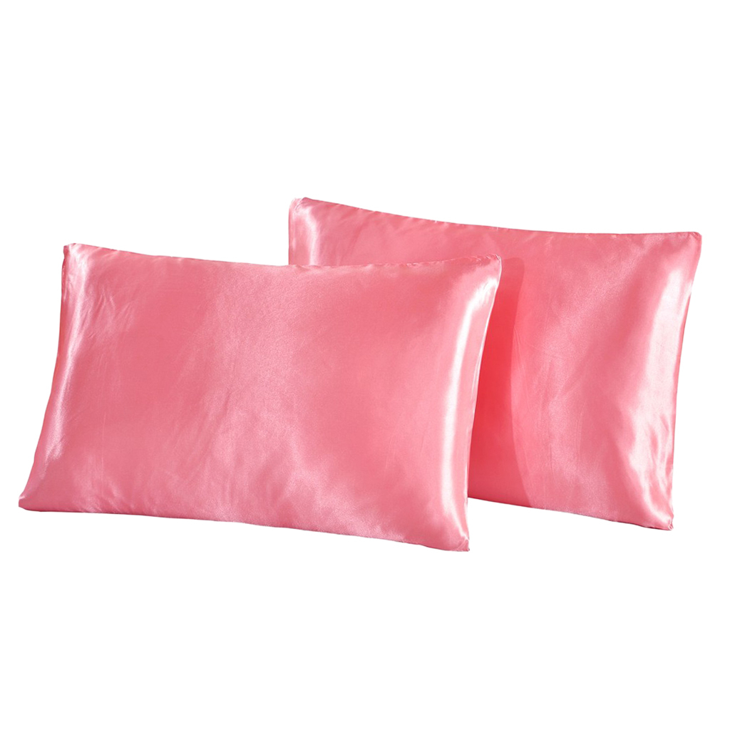 Indexbild 6 - 1 Paar Einfarbig Satin Soft Kissenbezüge Kopfkissenbezug, Farben Und Size