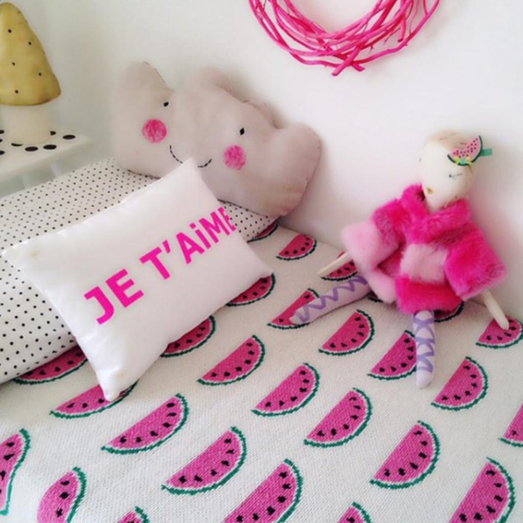 Baby Kinder gestrickt Mehrzweck-Blanko s-110x90cm Weiß-Wassermelone