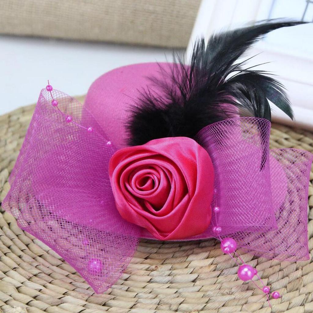 Kid-Girl-Flower-Hair-Clip-Veil-Feather-Mini-Top-Hat-Fascinator-Fancy-Party-Dress thumbnail 15