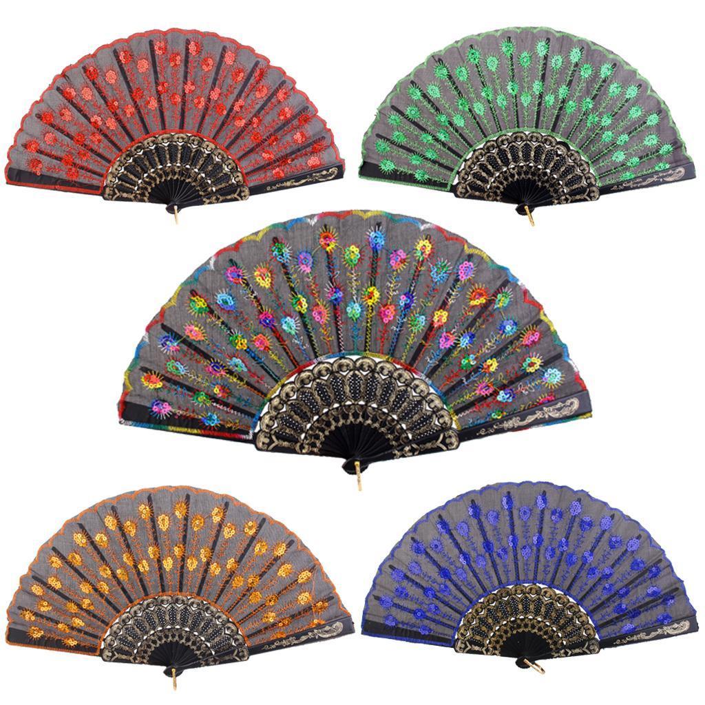 Portable-Summer-Party-Sequin-Silk-Folding-Hand-Handheld-Fan-Wedding-Decor-Gift thumbnail 5