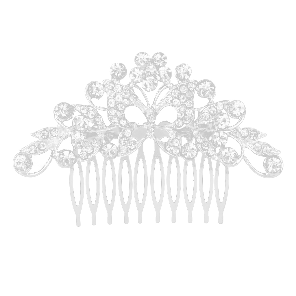 Wedding-Party-Flower-Crystal-Rhinestone-Bridal-Hair-Comb-Clip-Hair-Accessory thumbnail 8