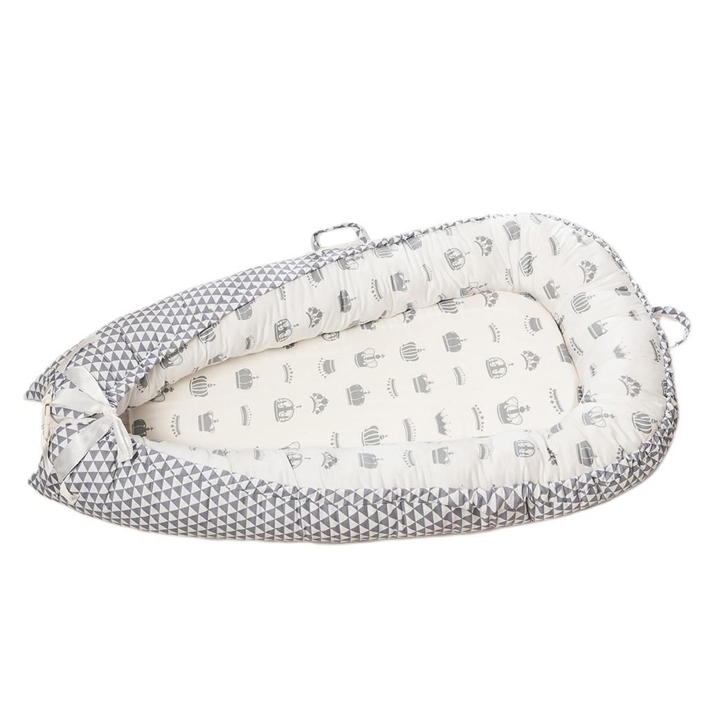 Babywiege Bett Faltbares Neugeborenes Tragbares Babyliege Nest Crown_White