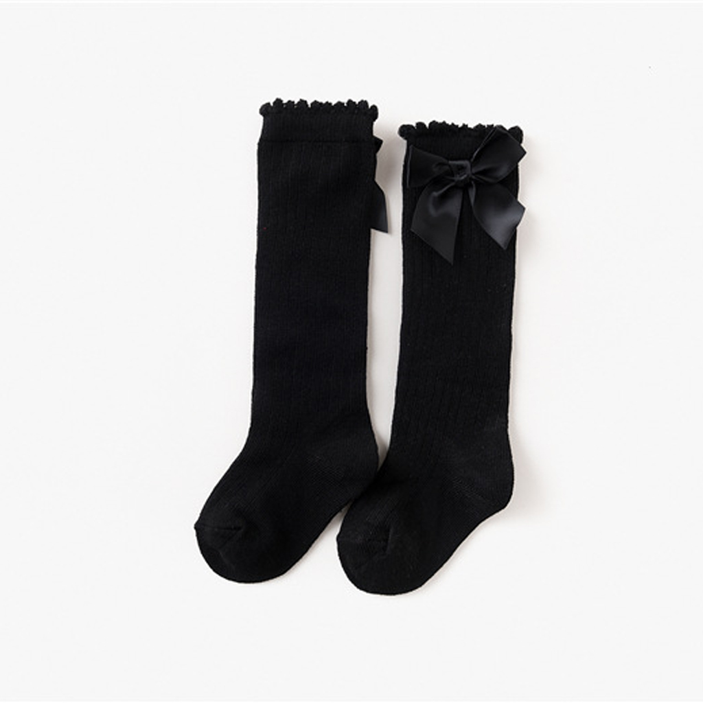 MagiDeal Baby Girls Spanish Style Knee High Socks Bow Girl Toddlers Romany Ribbed 0-4T