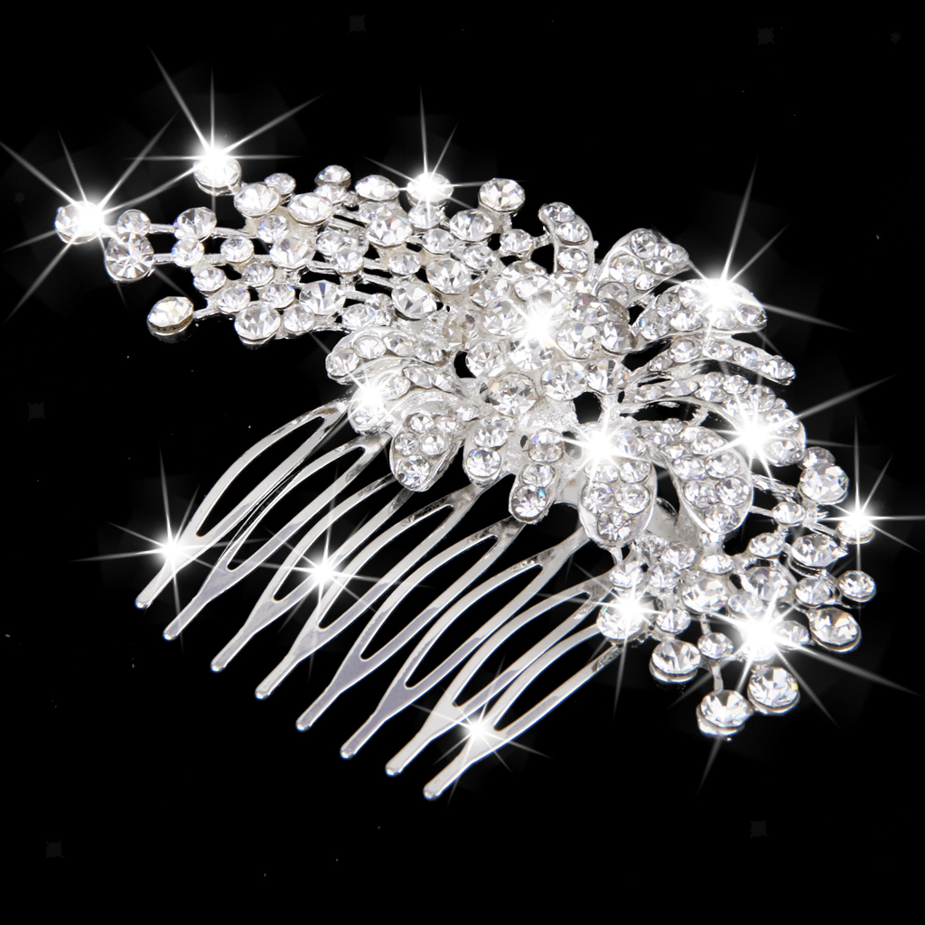 Wedding-Party-Flower-Crystal-Rhinestone-Bridal-Hair-Comb-Clip-Hair-Accessory thumbnail 17