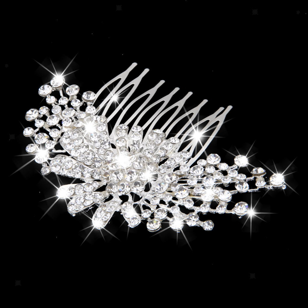 Wedding-Party-Flower-Crystal-Rhinestone-Bridal-Hair-Comb-Clip-Hair-Accessory thumbnail 18