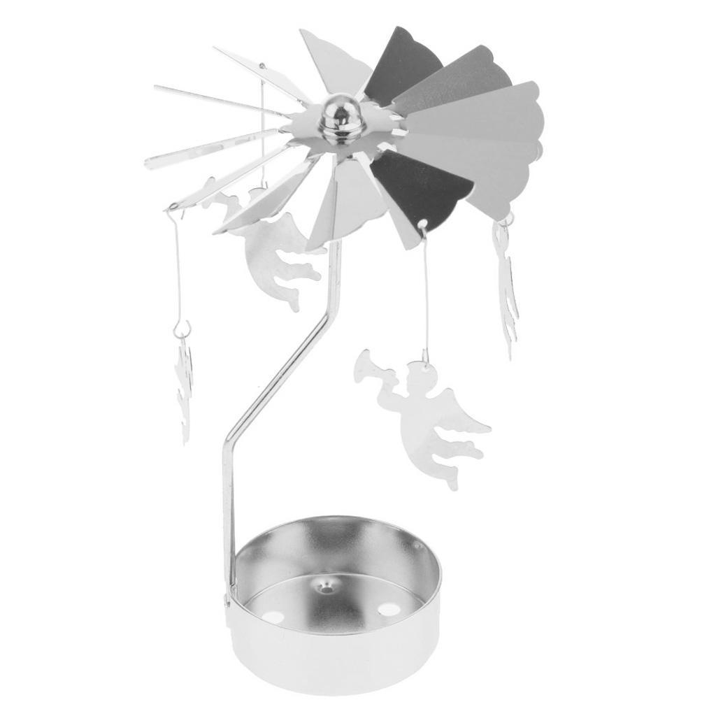 compleanno RTB01 con decorazione natalizia per salotto idea regalo per mamma centrotavola altezza 15,5 cm Portacandele rotante in metallo per candeline a forma di carosello moglie