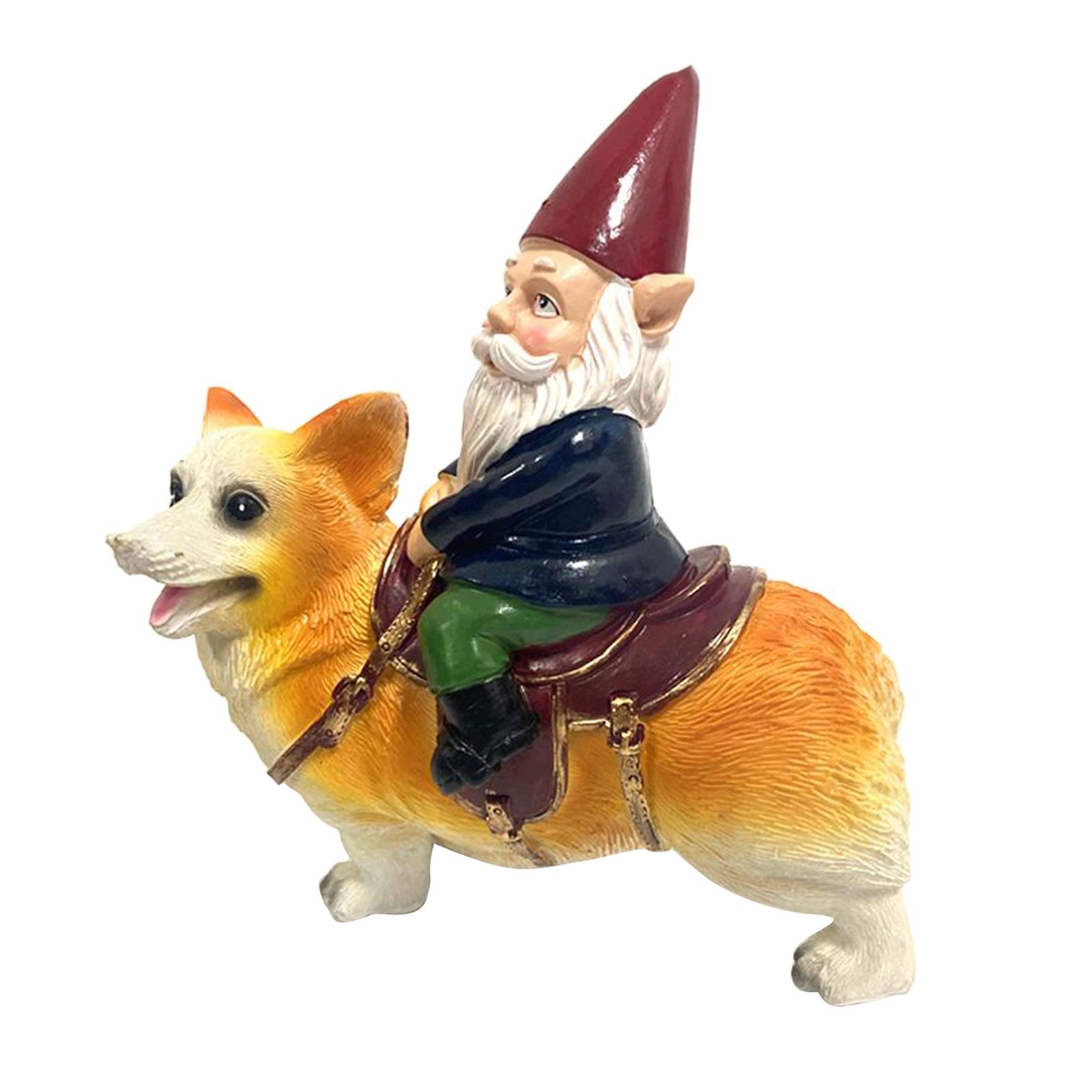 thumbnail 31 - Funny Resin Naughty Garden Gnome Statue Ornaments Villa Home Figurines Decor