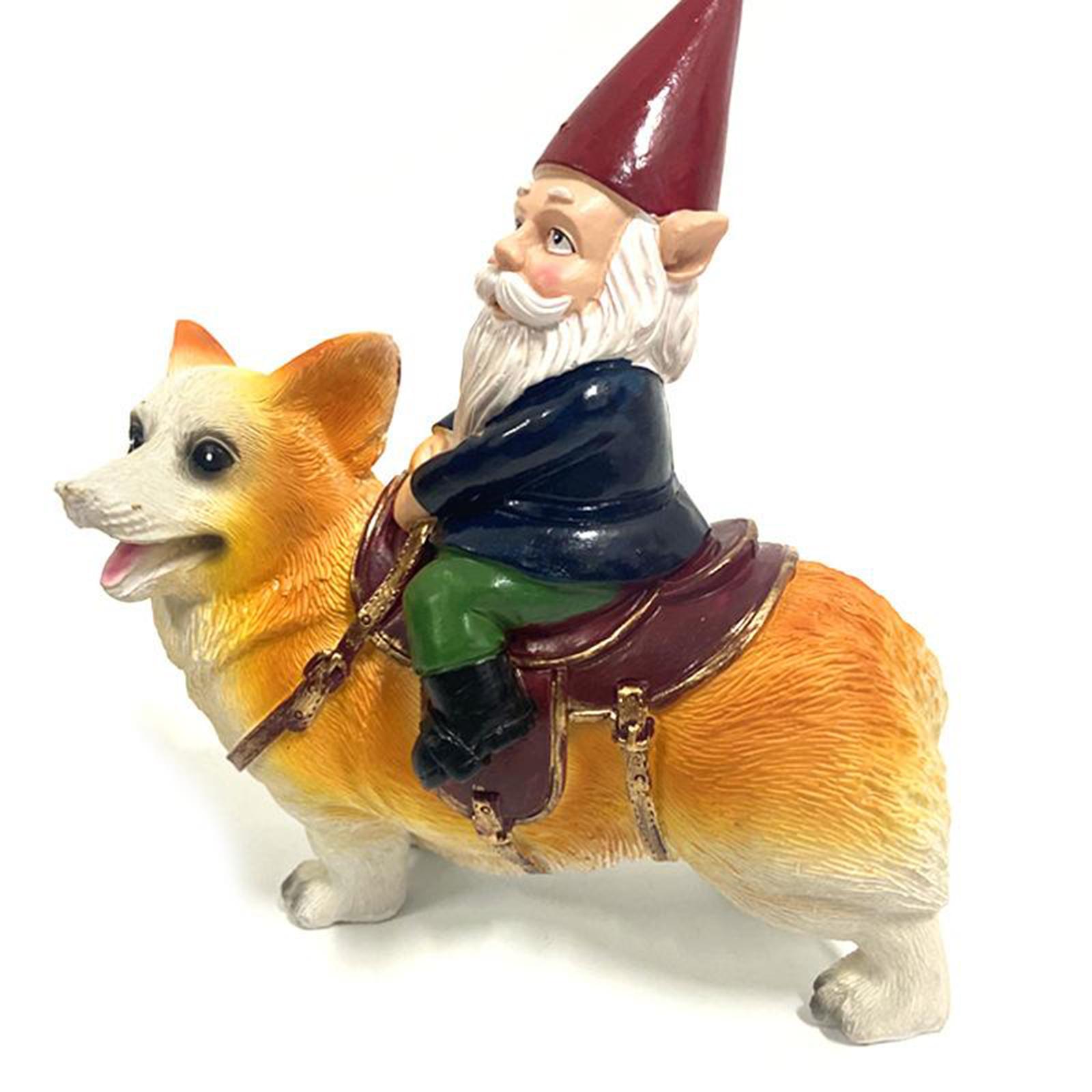 thumbnail 30 - Funny Resin Naughty Garden Gnome Statue Ornaments Villa Home Figurines Decor