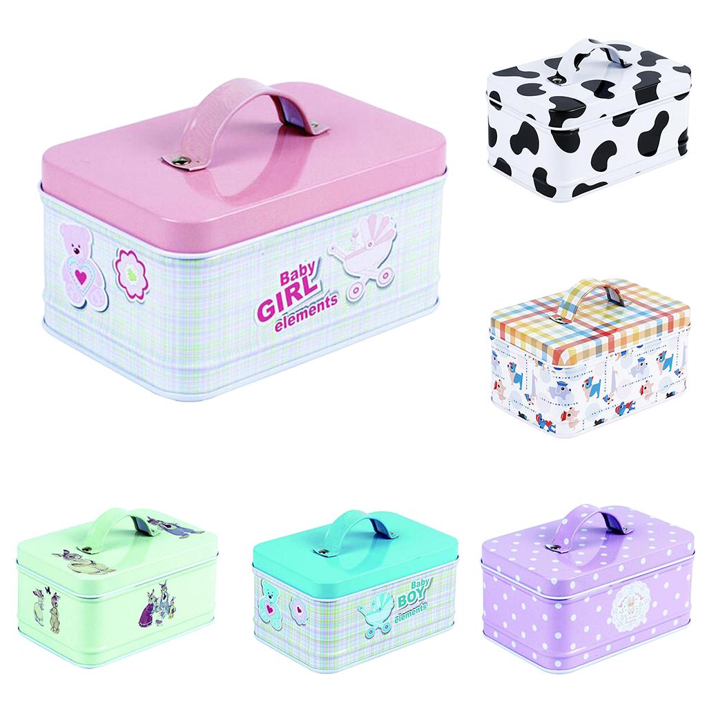 Vintage Suitcase Storage Tin Candy Box Metal Sealed Jar Gift Packing Boxes