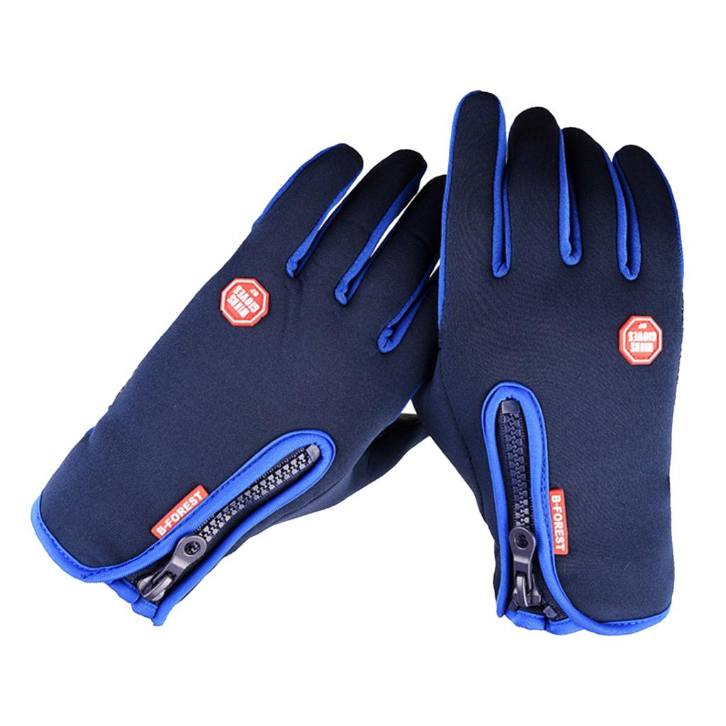 1 Pair Thermal Warm Gloves Bike Motorbike Glove Touch Screen Mitten Blue