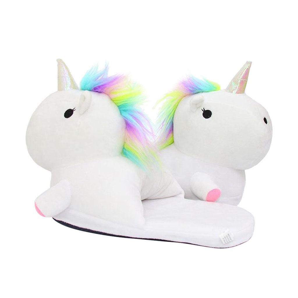 Women Mens Indoor Non-Skid Soft Cozy Plush Unicorn House