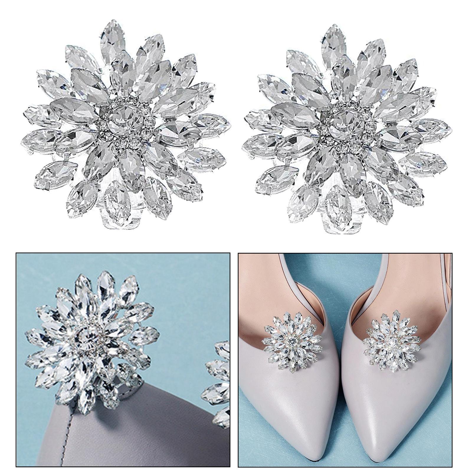 Fashion Shoe Clips Buckle Rhinestone Flower Crystal Party Wedding Shoe Decor