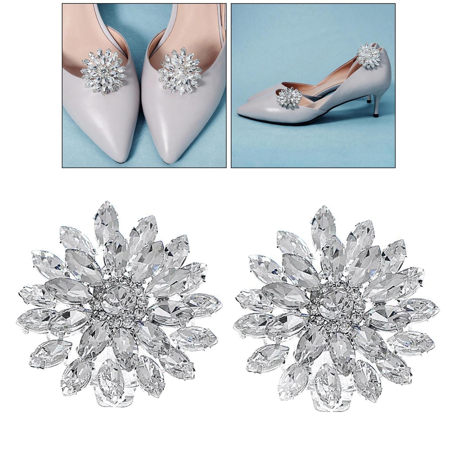 1 Pair Crystal Diamante Shiny Bridal Wedding Clip Buckle Shoes