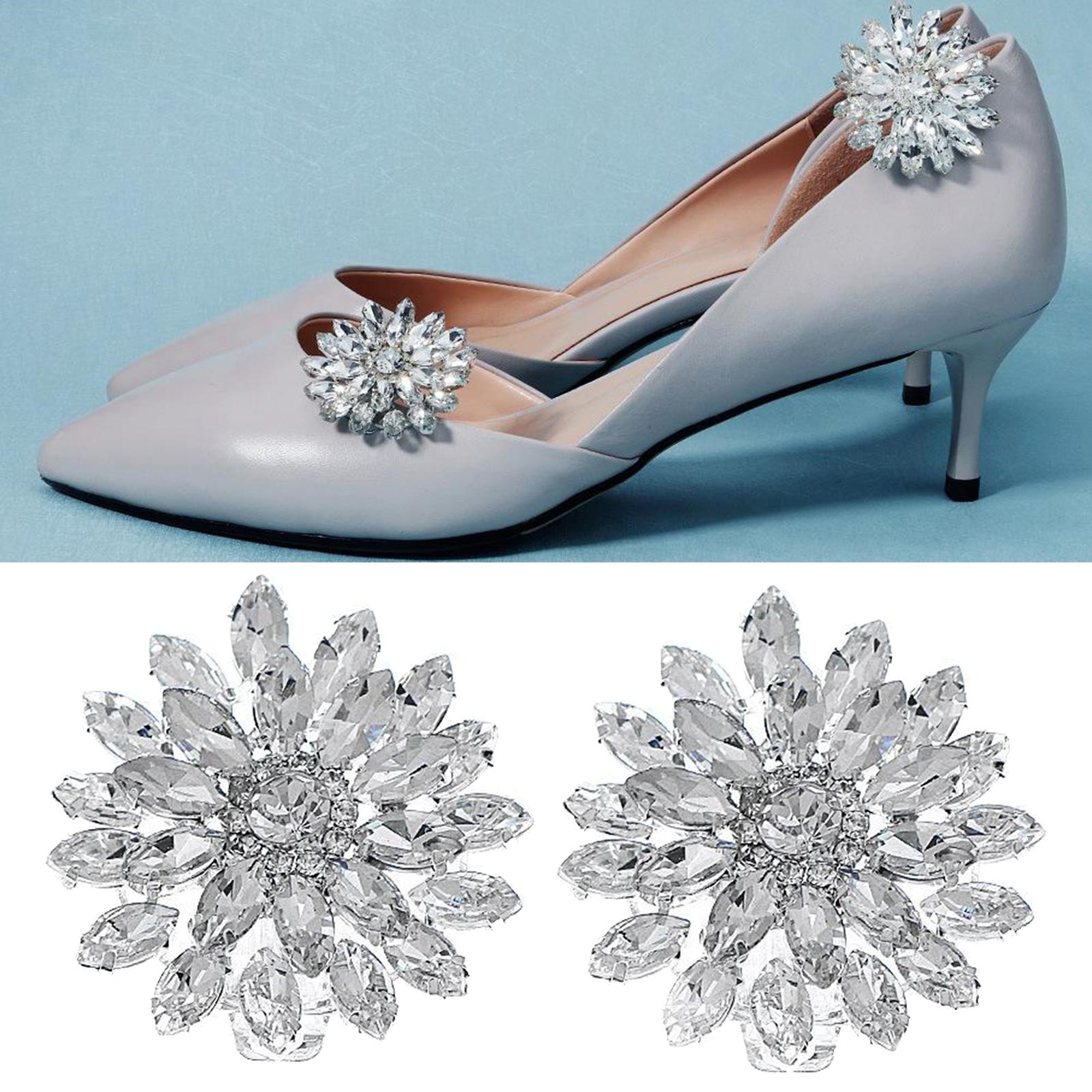2pcs Crystal Flower Rhinestone Diamante Wedding Bridal Shoes Clips