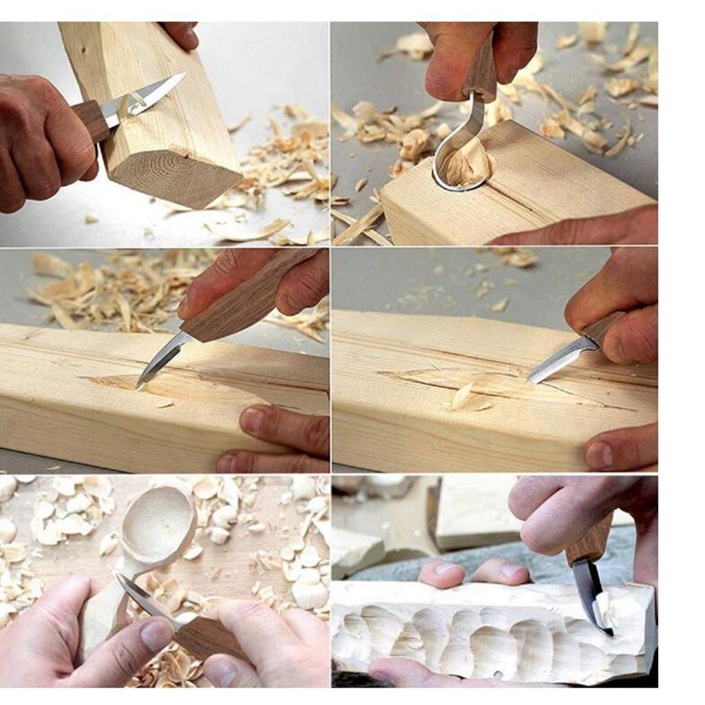 Strumenti-di-Intaglio-del-legno-Set-Gancio-Intaglio-Taglierina-Scalpello-Cutter miniatura 12