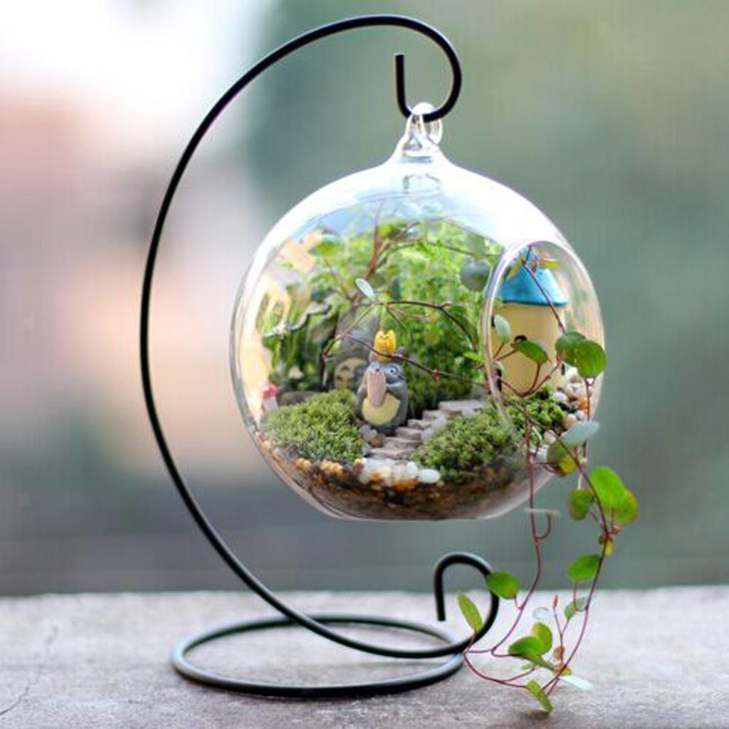 Various-Hanging-Glass-Ball-Tea-Light-Candle-Holder-Flowerpot-with-Iron-Stand thumbnail 73