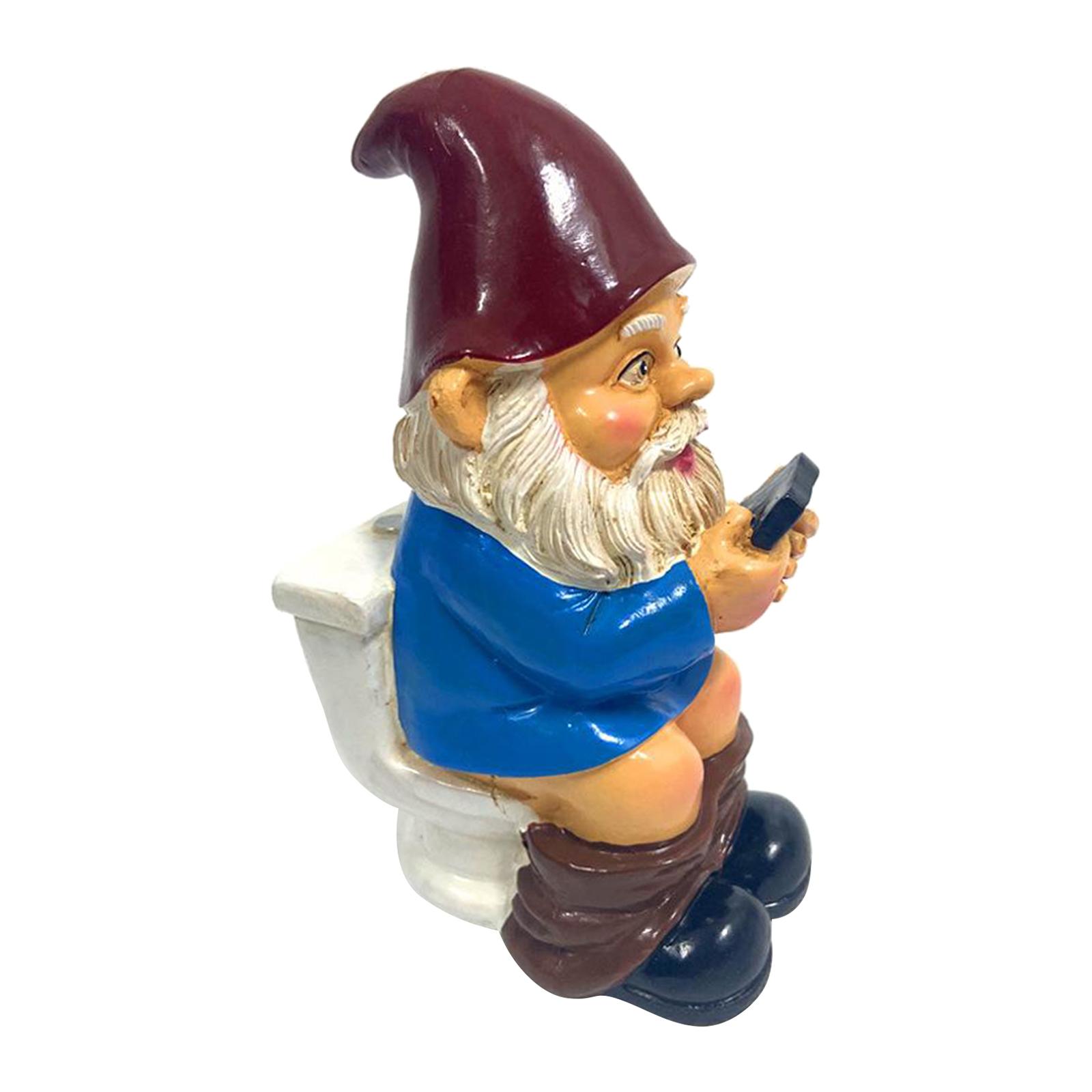 thumbnail 33 - Funny Resin Naughty Garden Gnome Statue Ornaments Outdoor Villa Home Figurines