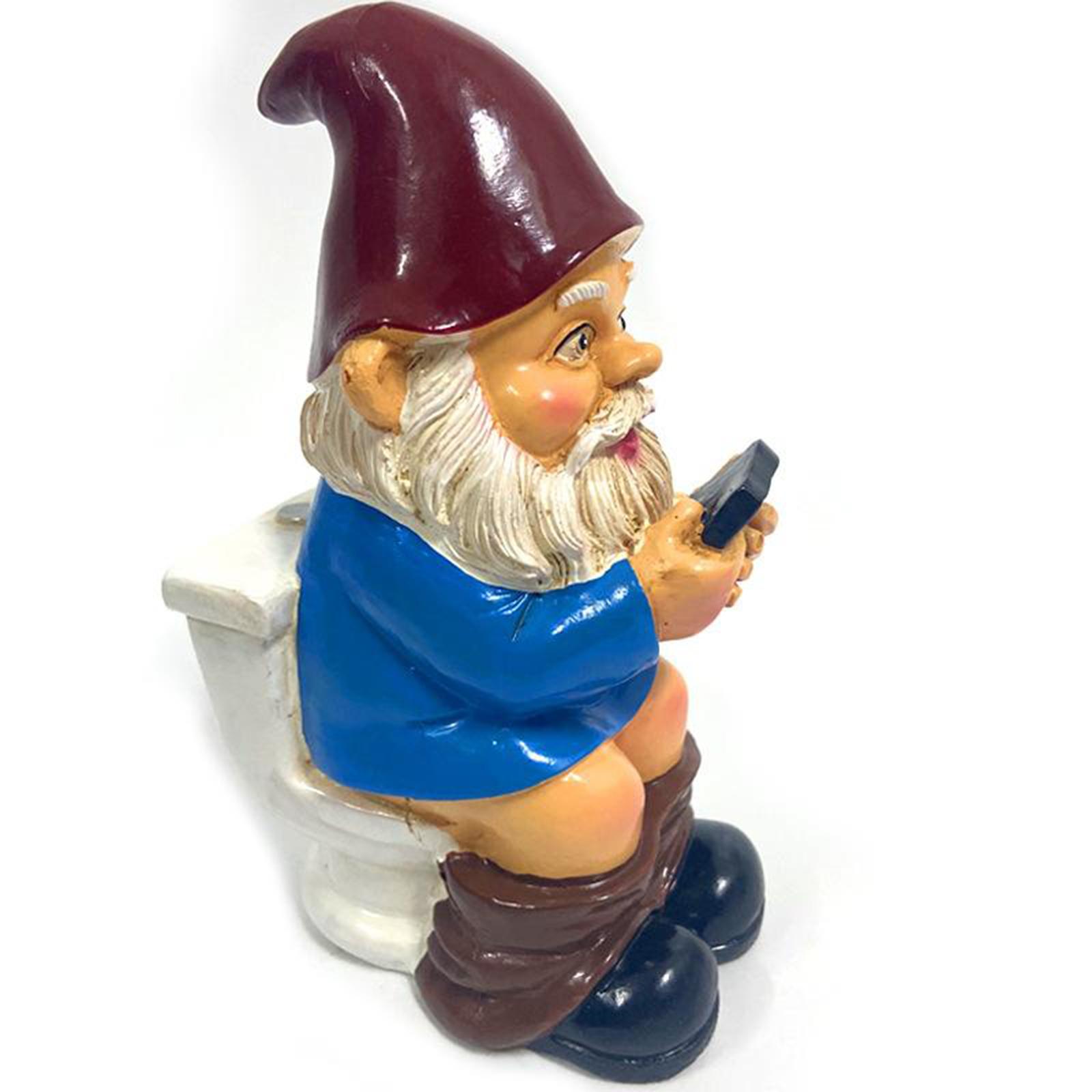 thumbnail 34 - Funny Resin Naughty Garden Gnome Statue Ornaments Villa Home Figurines Decor