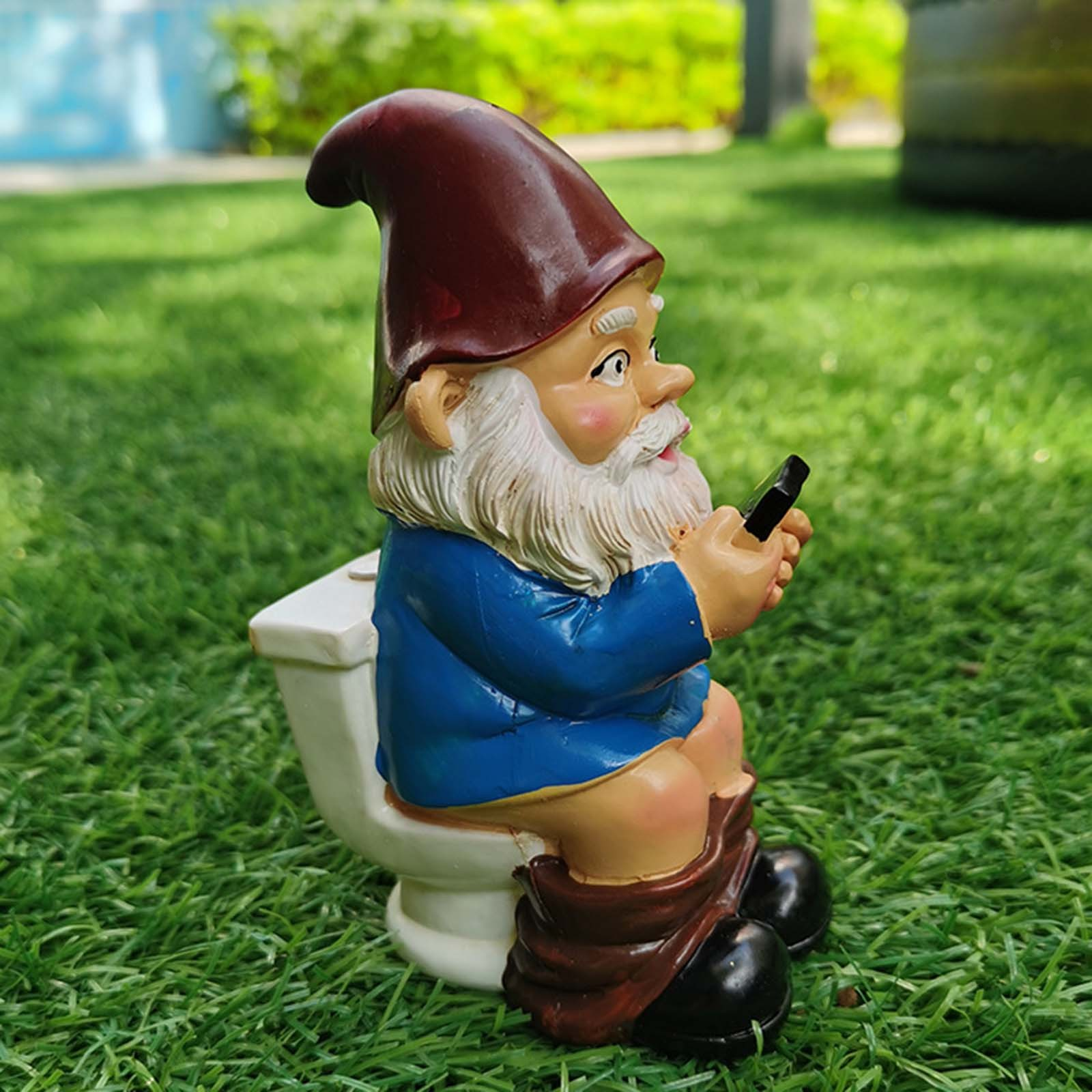 thumbnail 34 - Funny Resin Naughty Garden Gnome Statue Ornaments Villa Home Figurines