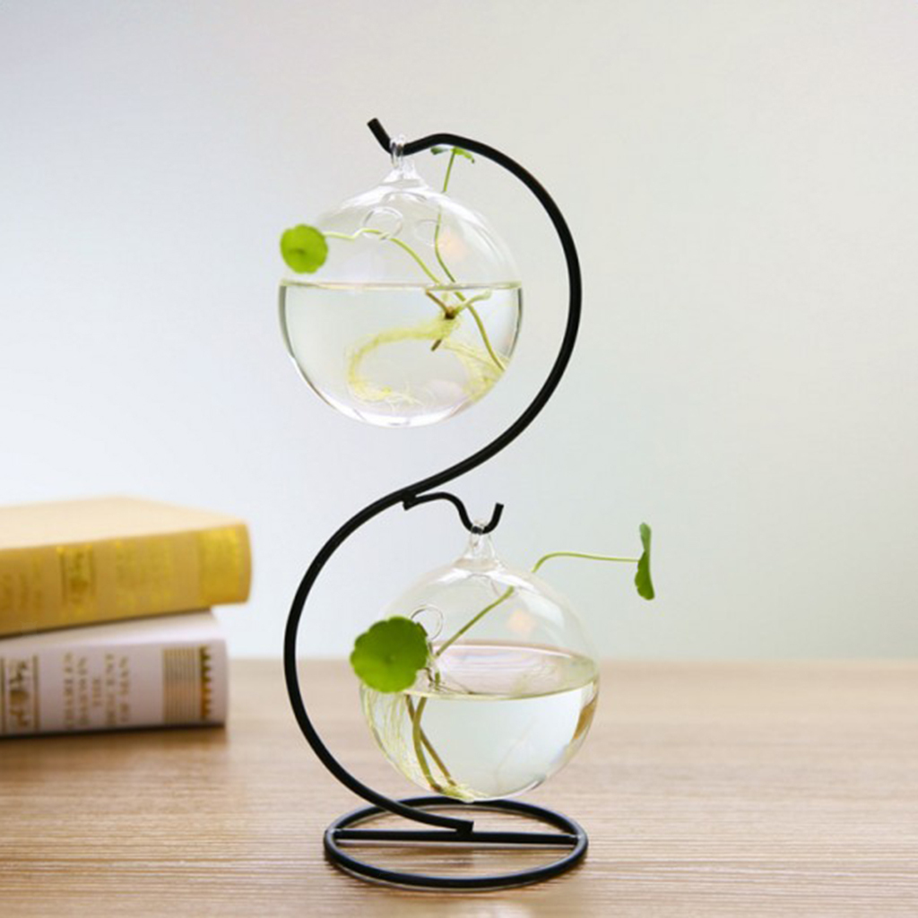 Various-Hanging-Glass-Ball-Tea-Light-Candle-Holder-Flowerpot-with-Iron-Stand thumbnail 64