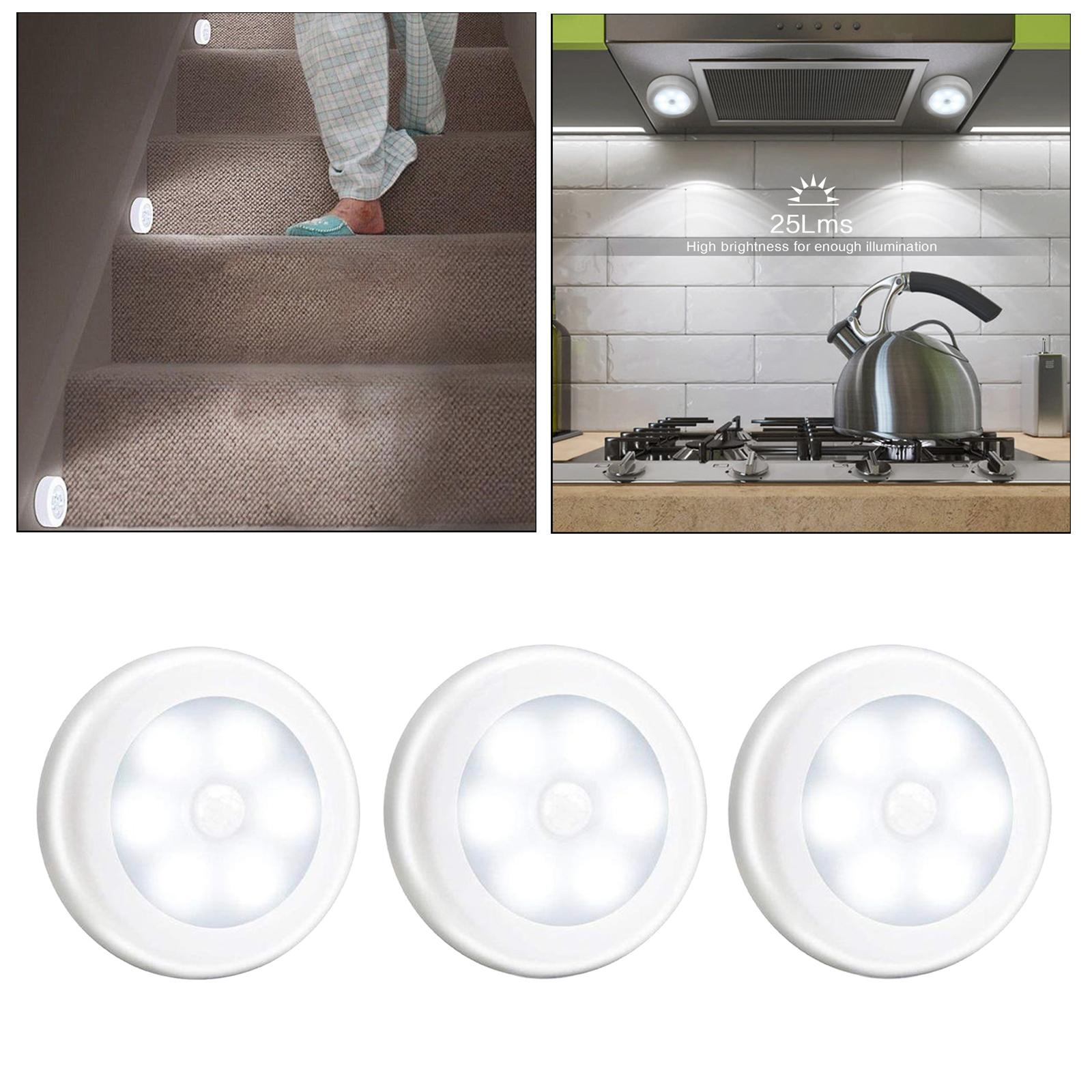 3pcs 1w Pir Motion Sensor 6 Led Night Light Lamp For Bathroom Wall Wardrobe Ebay