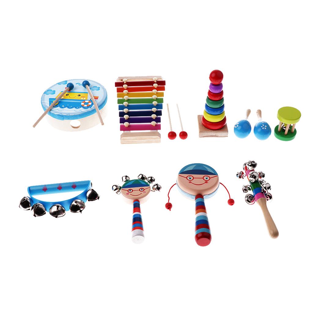 Holz-Kinder-Jungen-Maedchen-Percussion-Musikmacher-Set-Musikinstrumente-Musical Indexbild 10