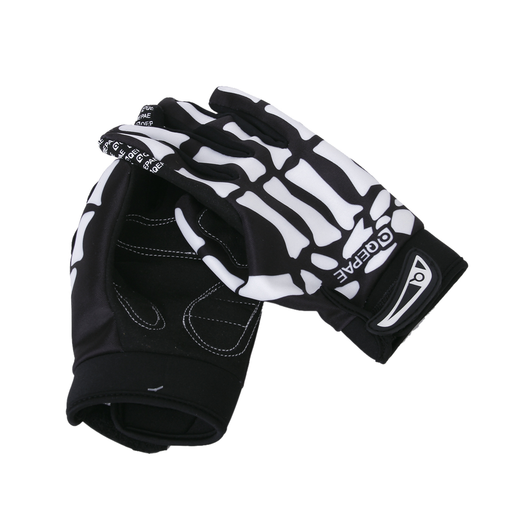 BLK-Bicycle-Bike-Cycle-Sports-Skull-Skeleton-Full-Finger-Warm-Gloves-Size-M-L-XL miniature 9