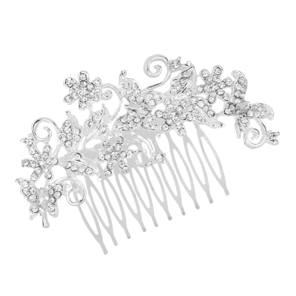 Wedding-Party-Flower-Crystal-Rhinestone-Bridal-Hair-Comb-Clip-Hair-Accessory thumbnail 15