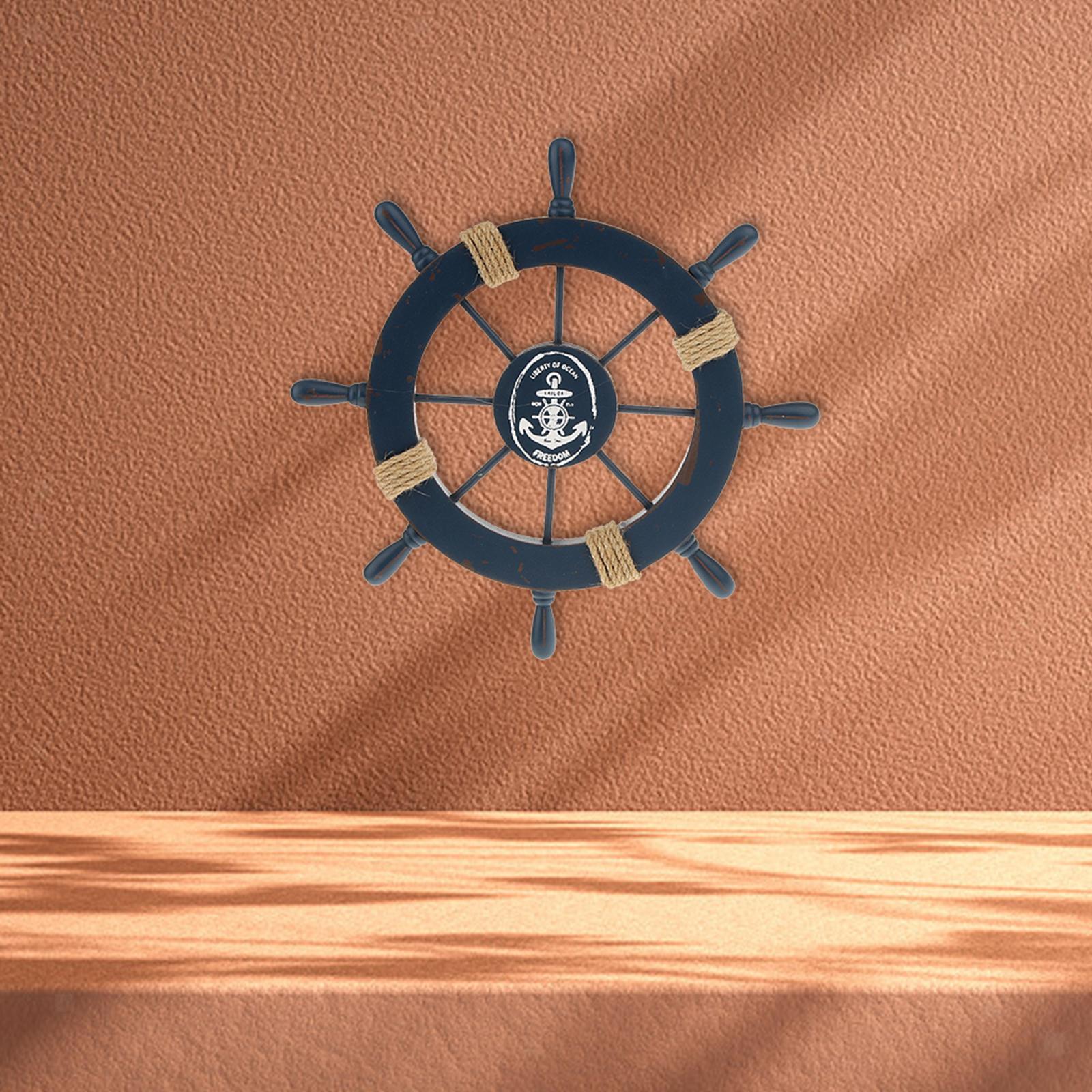 Nautical-Beach-Wooden-Boat-Ship-Wheel-Home-Bar-Wall-Party-Hanging-Decoration thumbnail 4