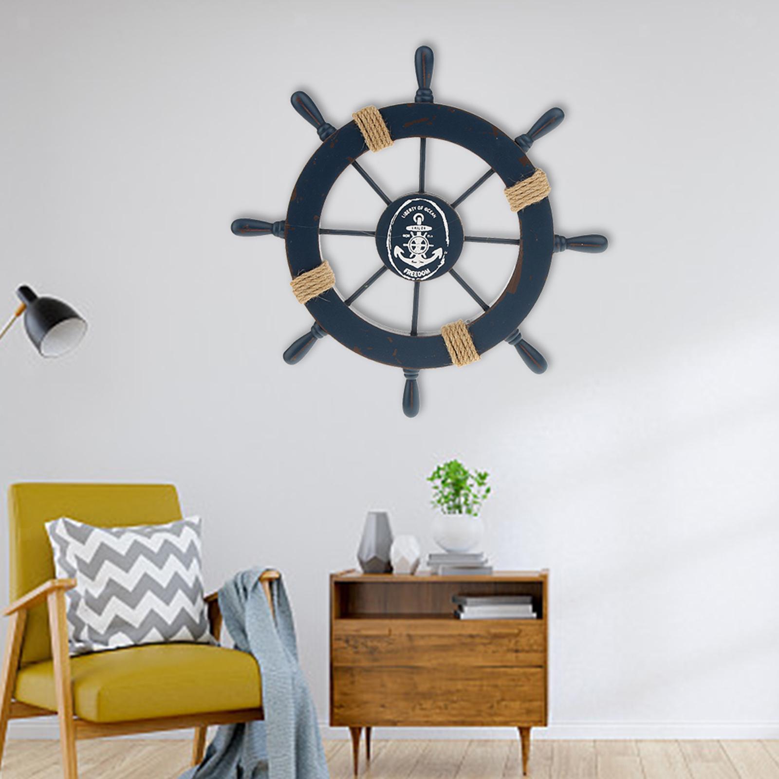 Nautical-Beach-Wooden-Boat-Ship-Wheel-Home-Bar-Wall-Party-Hanging-Decoration thumbnail 5
